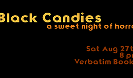 Promotional graphic for Black Candies literary journal's reading at Verbatim ...