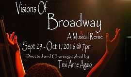 "Promotional flier for Visionary Performance Space's ""Visions of Broadway."""