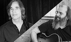 A promotion photo of Jackson Browne and Steve Earle.