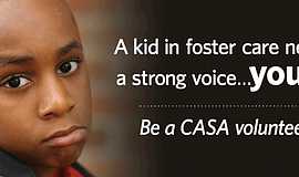 Promotional graphic for the CASA Volunteer Information Session. courtesy of V...