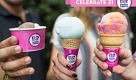 Baskin Robbins' ice cream cones.