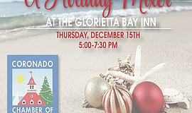 Promotional graphic for the Coronado Chamber of Commerce Holiday Sundowner: N...