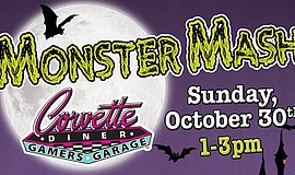 Cropped version of the promotional graphic for Corvette Diner's Monster Mash.