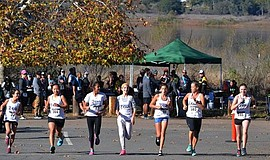 Participants race at the Del Dios Trail Half Marathon and 10K.