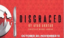 "A promotional poster for San Diego Rep's ""Disgraced."""