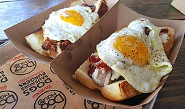 Promotional photo of Dog Haus San Diego hot dogs.