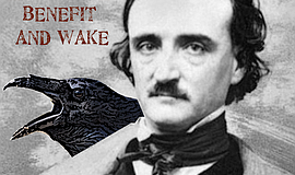 Promotional graphic for the E.A. Poe Memorial Benefit And Wake.
