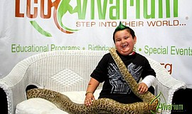 Photo of a child with an EcoVivarium snake.