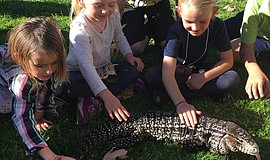 Children petting an EcoVivarium reptile.