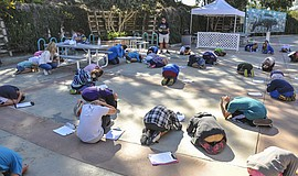 Photo of children practicing their earthquake cover, courtesy of Birch Aquari...
