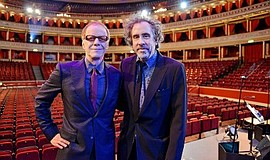 A photo of Danny Elfman (left) and Tim Burton, courtesy of the San Diego Symp...
