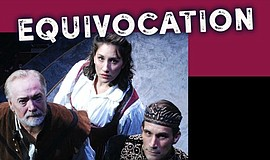 "A poster for ""Equivocation"" at Lamb's Players Theatre."