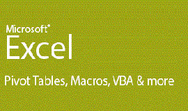 Promotional graphic for the Excel: Pivot Tables, Macros, VBA And More program...