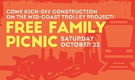 Promotional graphic for the Mid-Coast Trolley groundbreaking celebration.