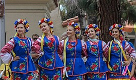 Promotional photo of dancers in traditional Ukrainian garb at the annual Hous...