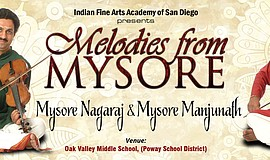 "Promotional flier for ""Melodies from Mysore"" featuring violinists Mysore Brot..."