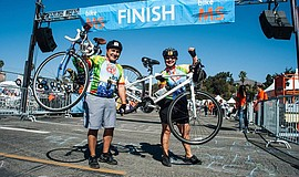 Bike MS Bay to Bay participants at the finish line.