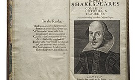 A photo of Shakespeare's First Folio.