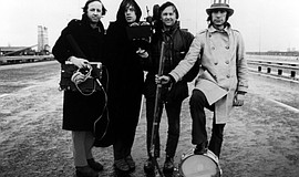 "Mick Jagger, Albert Maysles, David Maysles, and Charlie Watts in ""Gimme Shelt..."