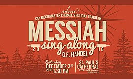 "Promotional graphic for San Diego Master Choral's Annual ""Messiah"" Sing-Along."
