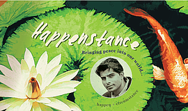 "Promotional graphic for ""Happenstance: Bringing peace into the world."""