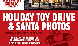 Promotional graphic for Waypoint Public Toy Drive With Santa And Traveling St...