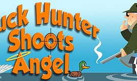 "Promotional graphic for Lamplighters Community Theatre's ""Duck Hunter Shoots ..."