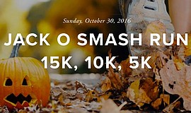 Promotional graphic for the Jack-O-Smash 15K, 10K, 5K and Family Fun Festival.