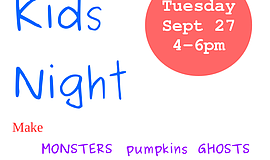 Promotional graphic for Kids Night At Ceramic Heights.