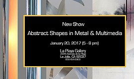 "Promotional graphic for La Playa Gallery's ""Abstract Shapes In Metal and Muil..."