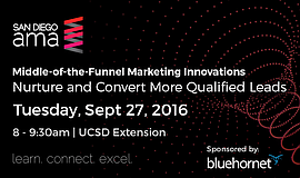 Promotional graphic for the San Diego AMA's Middle-of-the-Funnel Marketing In...