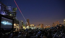 Photo of San Diegans enjoying Summer Movies in the Park.