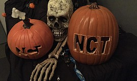 Photo of NTC carved pumpkins and Halloween decorations.