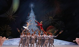 "Film still of performers in the Bolshoi Ballet's ""The Nutcracker."""