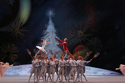 "Film still of performers in the Bolshoi Ballet's ""The Nut..."
