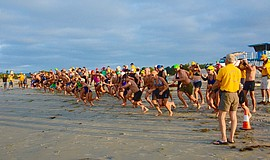 Participants take their place at the Optimist Club Of Coronado Ocean Swim eve...