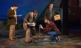 (from left) Austyn Myers as O'Dell, Connor Russell as Quentin, Kyle Selig as ...