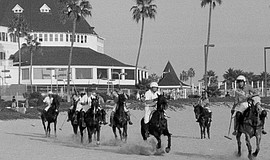 Promotional photo of a beach polo game at the Hotel Del. Courtesy of the Hote...