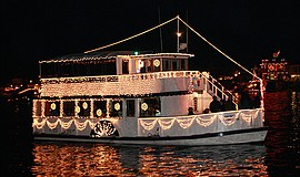 Promotional photo of a boat in the Parade of Lights. Courtesy of Hornblower C...