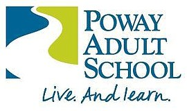"Promotional graphic for Poway Adult School featuring the motto ""Live. And lea..."