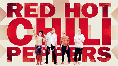 Promotional graphic and photo of the Red Hot Chili Peppers.