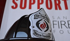 Photo of a San Diego Fire Rescue Foundation safety helmet.