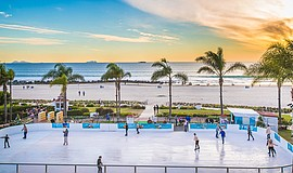 Guests ice skate at San Diego's only beachfront ice skating rink. Courtesy of...