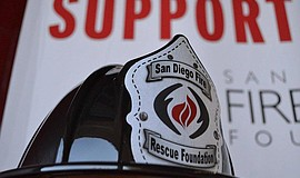 Photo of a San Diego Fire Rescue Foundation helmet.