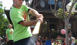 Photo of a San Diego stickball player, courtesy of San Diego Stickball.