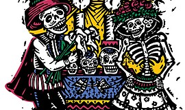 Promotional graphic for the Sherman Heights Dia de Los Muertos event.