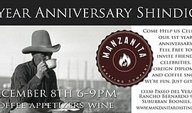 Promotional graphic for the Manzanita Roasting Company 1st Anniversary Shindig.