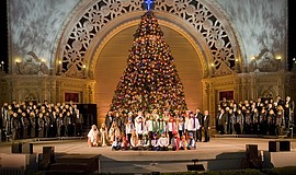 Promotional photo of Del Cerro Baptist Church's Christmas Story Tree at Balbo...