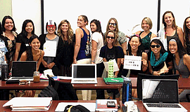 Promotional photo of Speech-Language Pathology program students. Courtesy of ...