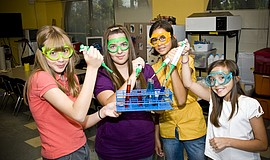 Participants at the Saturday Science Club for Girls.